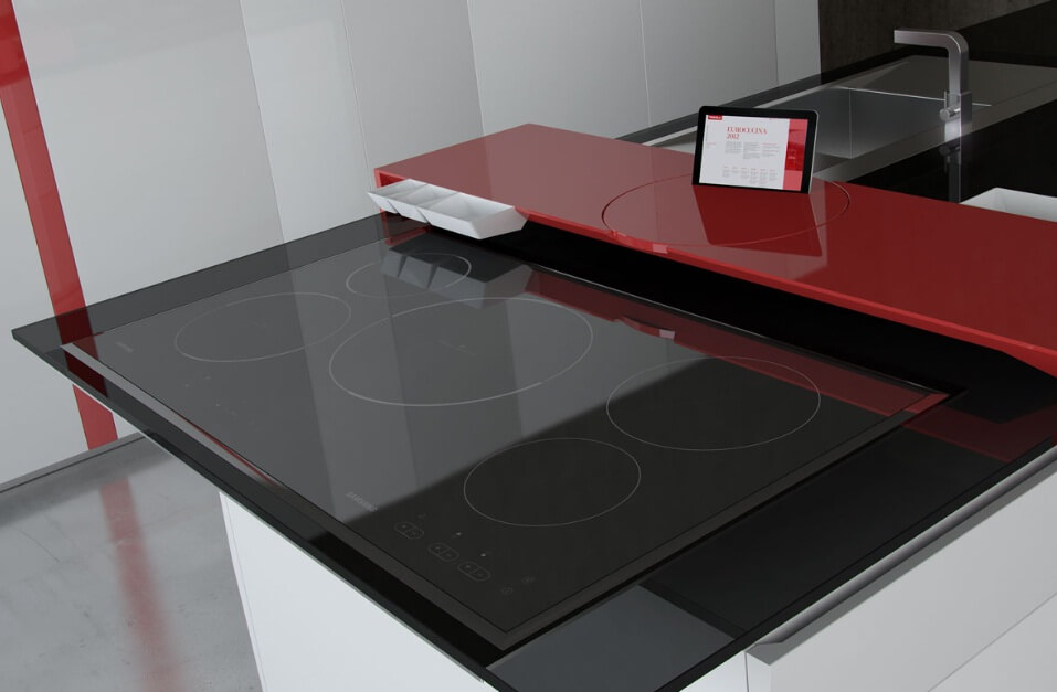 Modern kitchen surface with Samsung Galaxy Tablet 01 Exclusive Kitchen Space with High Tech Design