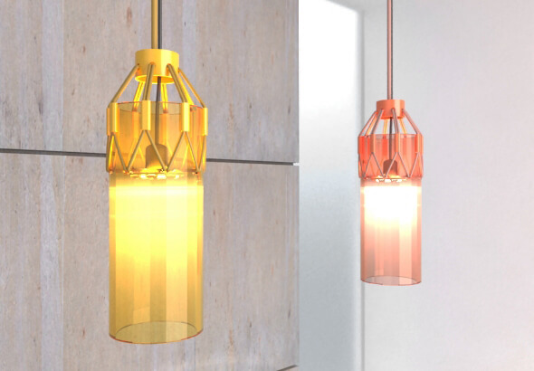 Orange and red hanging light by Luis Porem Modern Ceiling Lamp Displaying Appealing Design