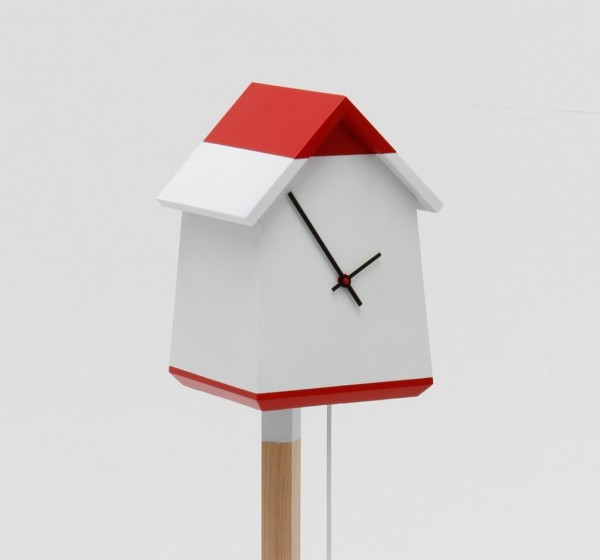 Red and white bird house clock 600x560 Whimsical Handmade Bird House Clock by Room 9