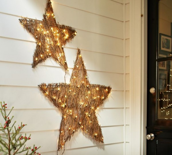 Twig star Christmas decor 600x540 Christmas Decorating Ideas for Outdoor Settings