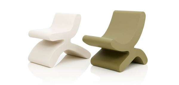 White and kaki creative chairs 600x285 Playful Flip Chairs by Daisuke Motogi Architecture