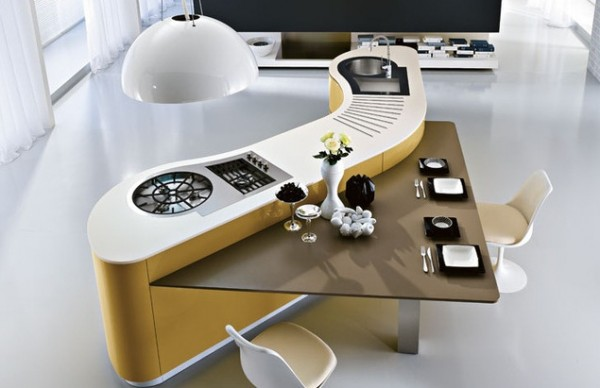 Yellow-contemporary-kitchen-island