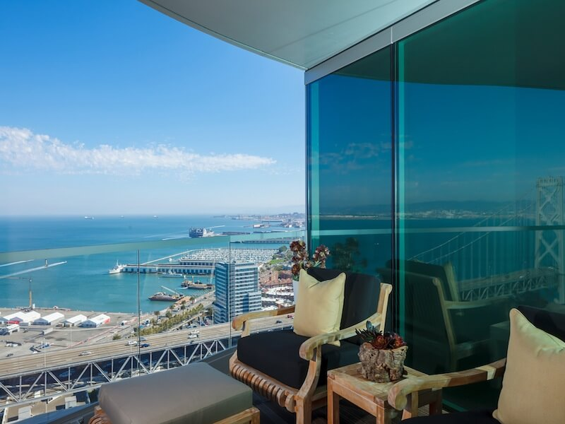 Balcony with water and city views San Francisco Luxury Duplex Residence with Bay & City Views in San Francisco