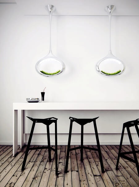 Bar table with black chairs and unique lamps Innovative Lighting Concept: Grass Lamp by Marko Vuckovic