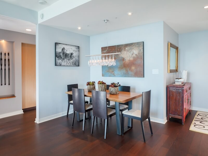 Contemporary beautiful dining room Luxury Duplex Residence with Bay & City Views in San Francisco