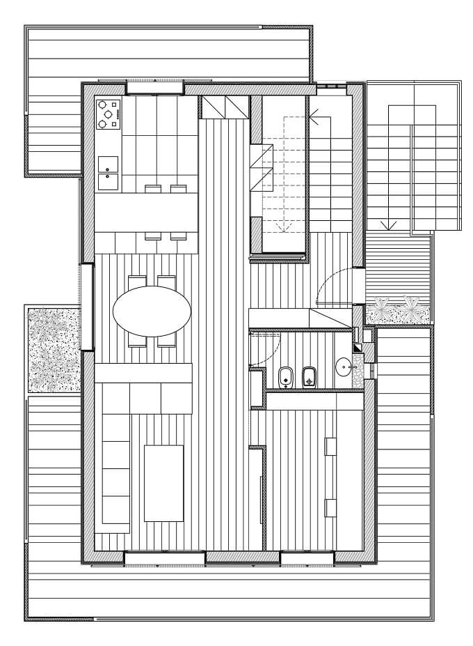 First floor plan RGR House Private House Showcasing a Volumetric Structure in Italy