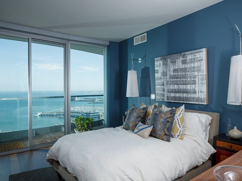 Gorgeous contamporary bedroom with water view Luxury Duplex Residence with Bay & City Views in San Francisco