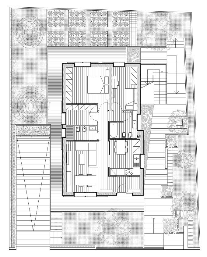 Ground floor plan RGR House Private House Showcasing a Volumetric Structure in Italy