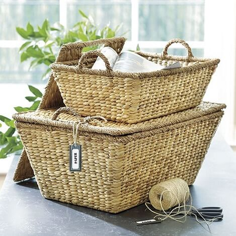 Hampton lidded baskets European Inspired Interiors from Ballard Designs