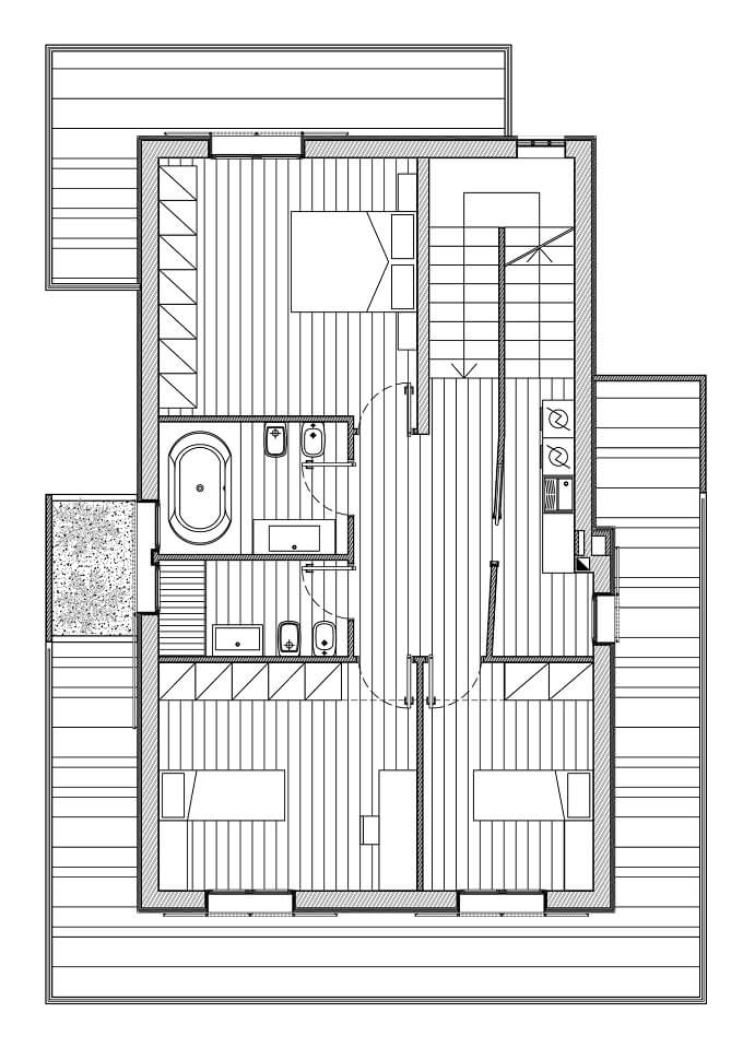 Second floor plan RGR House Private House Showcasing a Volumetric Structure in Italy