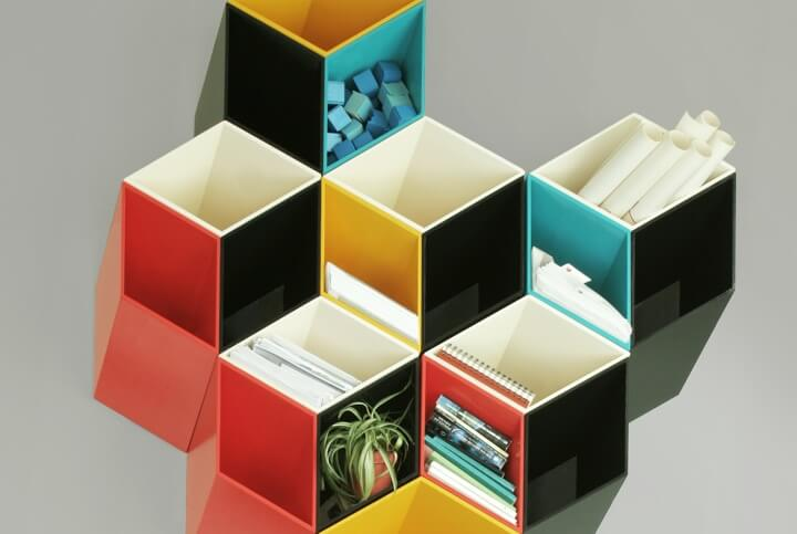 color shelvs Optical illusion design for Imeuble storage by By  Corporation