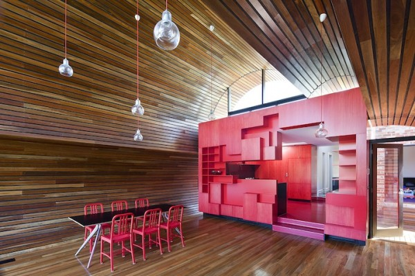 red kitchen 600x400 Cloud house architecture by McBride Charles Ryans
