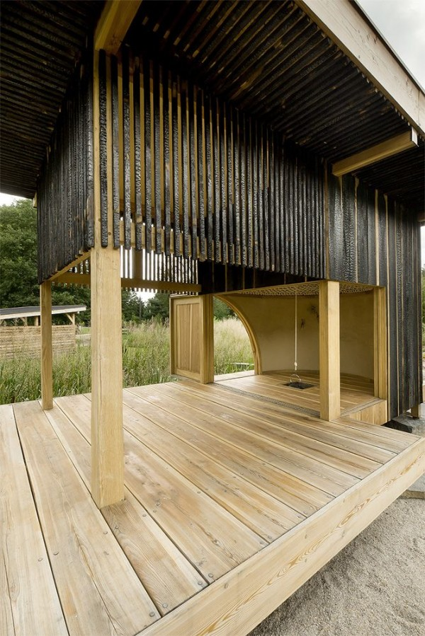 wood interior 600x899 Amazing Tea house architecture  by  A1 Architects