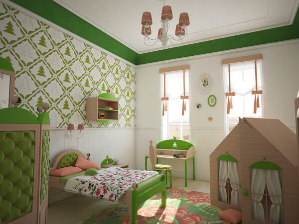 7 Inspiring Kid Room Color Options For Your Little Ones: Creative Green Bedroom With A Forest-Inspired Theme