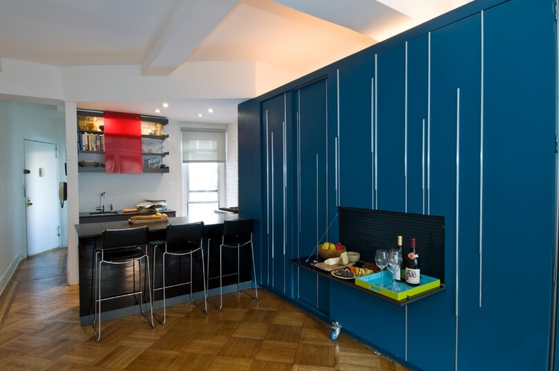 Blue custom cabinetry and kitchen Small Apartment Design Exhibiting Creative Space Efficient Ideas