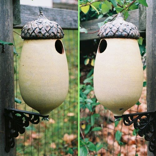 Eclectic ceramic birdhouse 10 Birdhouses to Decorate Your Outdoor Space this Spring