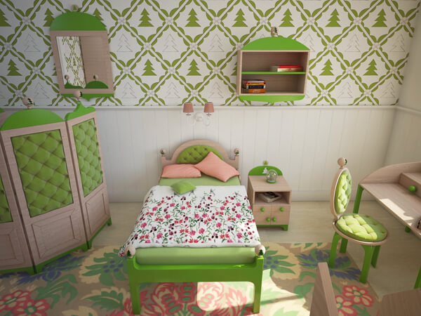 Creative Green Bedroom With A Forest Inspired Theme