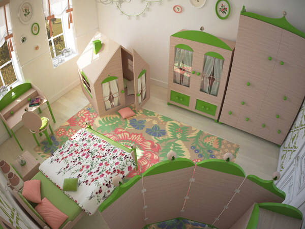Green-colored-kids-bedroom