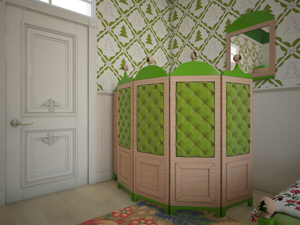 Green open shelf for children Creative Green Bedroom with a Forest Inspired Theme