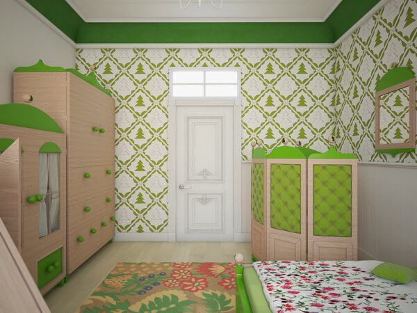 Green wallpaper with fir trees Creative Green Bedroom with a Forest Inspired Theme