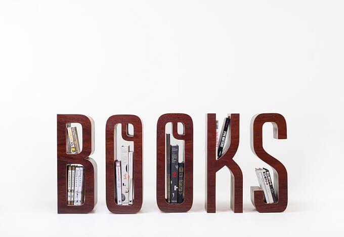 letter forms bookshelf