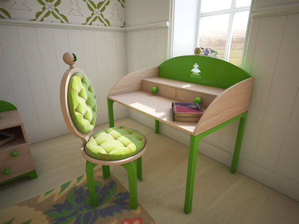 Lovely-desk-for-kids-with-green-upholstered-chair