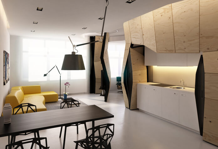 Small apartment  60 Square Meters Apartment Concept by Vlad Mishin