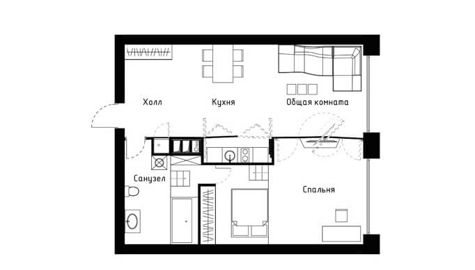 Small apartment plans1 60 Square Meters Apartment Concept by Vlad Mishin