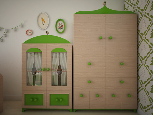 Two appealing wardrobes for children bedroom Creative Green Bedroom with a Forest Inspired Theme