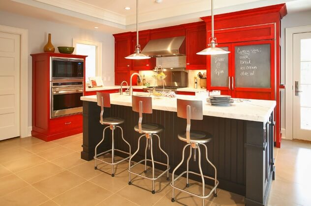 Bright red cabinetry Use Paint to Have New Kitchen Cabinets