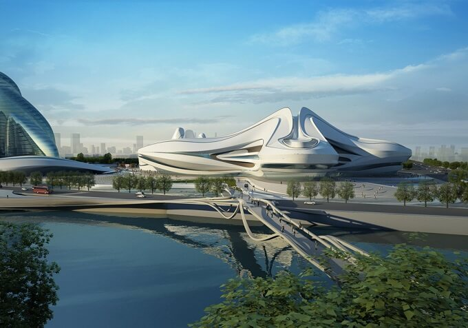 Futuristic design project Zaha Hadid Architects New Arts and Culture Centre Project in China