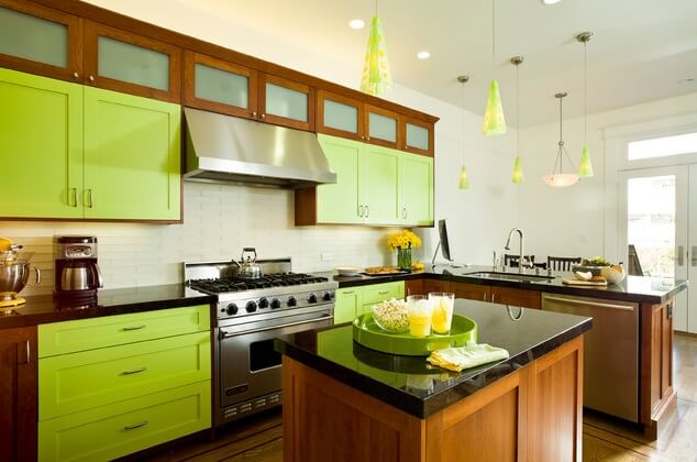 Green lime kitchen cabinetry Use Paint to Have New Kitchen Cabinets