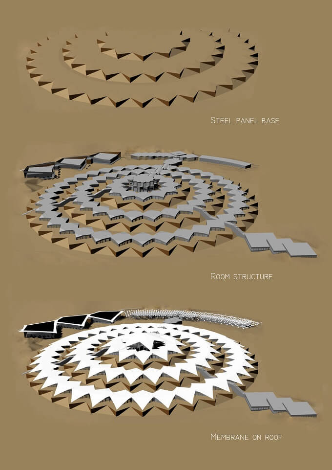 Hotel structure Sustainable Architecture in the Middle of Gobi Desert  The Lotus Hotel