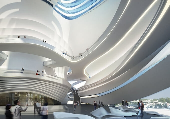 Inside Art Centre Zaha Hadid Architects New Arts and Culture Centre Project in China