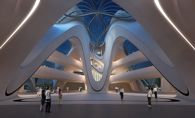 Inside Centre Zaha Hadid Architects New Arts and Culture Centre Project in China