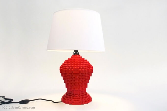 Lexington red lamp Original LEGO Artwork  Playful LEGO Lamps from Sean Kenney