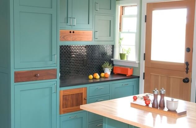 Light turquoise paint Use Paint to Have New Kitchen Cabinets