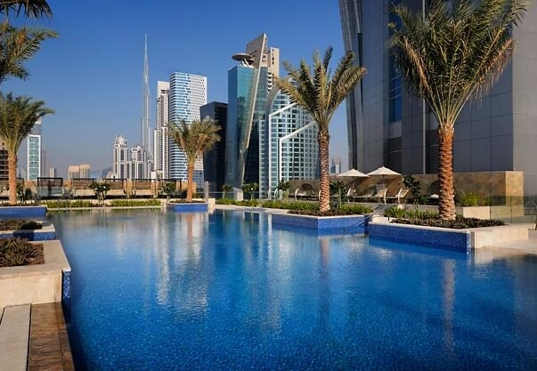 Outdoor swimming pool Stunning JW Marriott Marquis Hotel Dubai  The Worlds Tallest Hotel