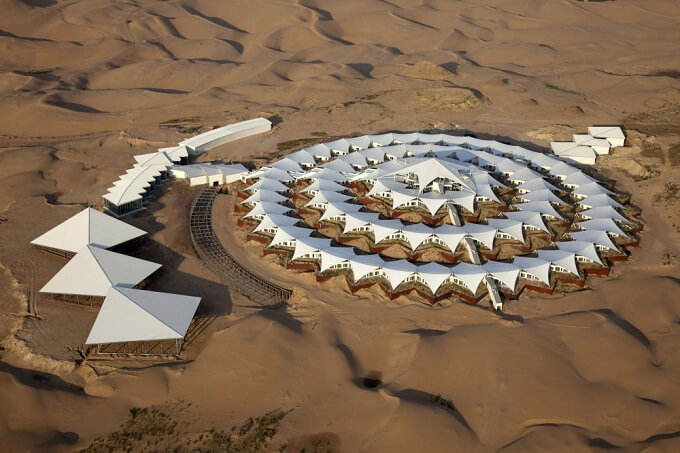 Self sustaining desert hotel Sustainable Architecture in the Middle of Gobi Desert  The Lotus Hotel