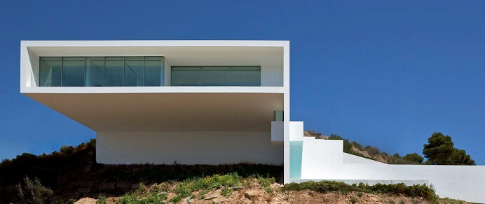 All White Magnificent House On The Cliff In Calpe Spain - Modern house on cliff