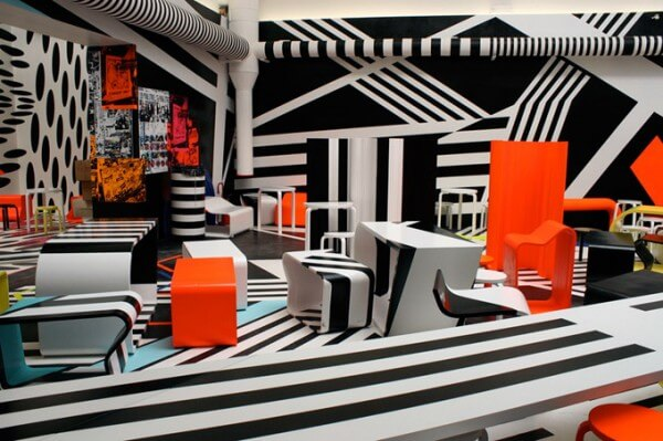 Cool Cafeteria Design Showcasing Modern Art Inspiration
