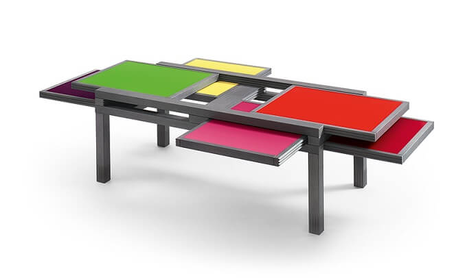Playful Coffee Table In Mondrian Style From Sculptures Jeux Interior Design Design News And