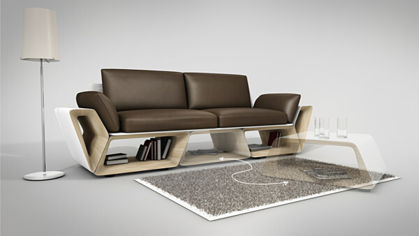 Creative Couch Designs more counter space while showcasing a creative furniture design