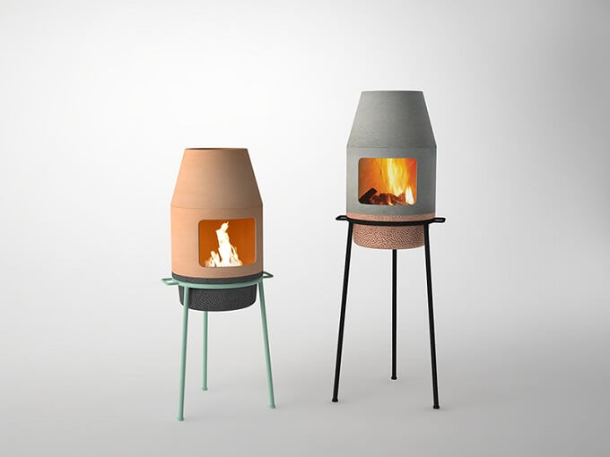 lovely portable fireplace design for outdoors and indoors
