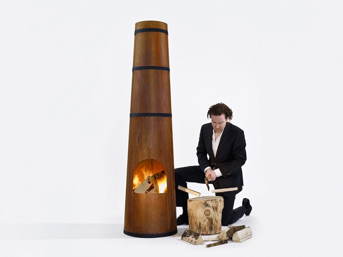 Smokestack by Frederik Roijé 01 Outdoor Fireplace Inspired by the Archetypical Factory Chimney