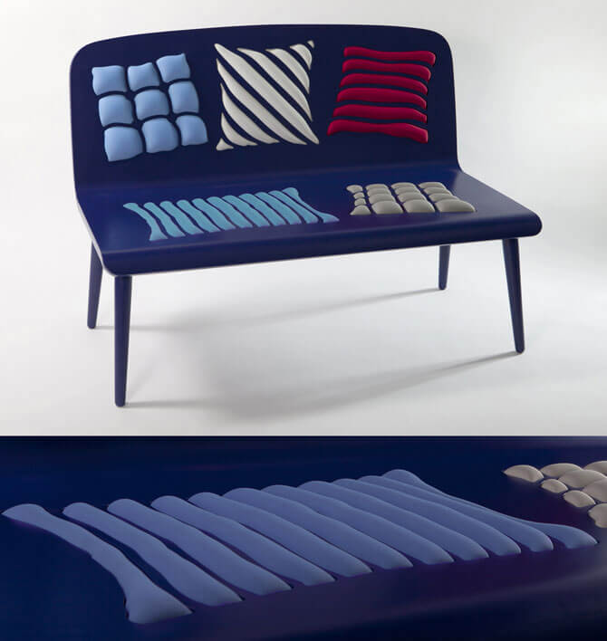 Blue bench design Furniture Designs Playing With Perceptions by Alessandra Baldereschi