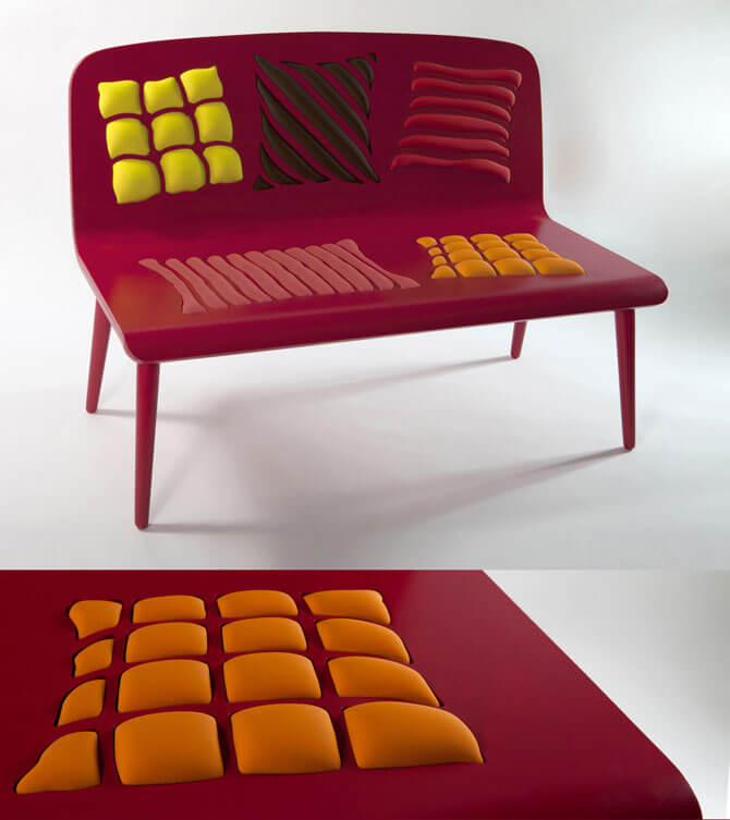Raspberry red bench Furniture Designs Playing With Perceptions by Alessandra Baldereschi