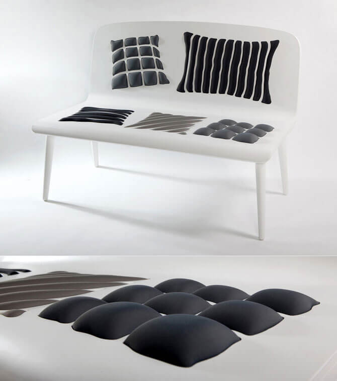 White Poppins bench Furniture Designs Playing With Perceptions by Alessandra Baldereschi