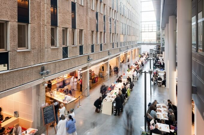 Places for eating Future Learning Environments for Karolinska Institute in Sweden