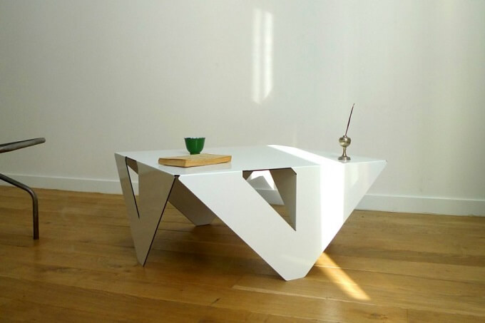 Table4×4 by Jules Barrès 01 Minimalist White Coffee Table by Jules Barrès and Pierre Guillou